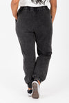 The Kravitz Washed Vintage Trouser in Black, studio shoot; back view