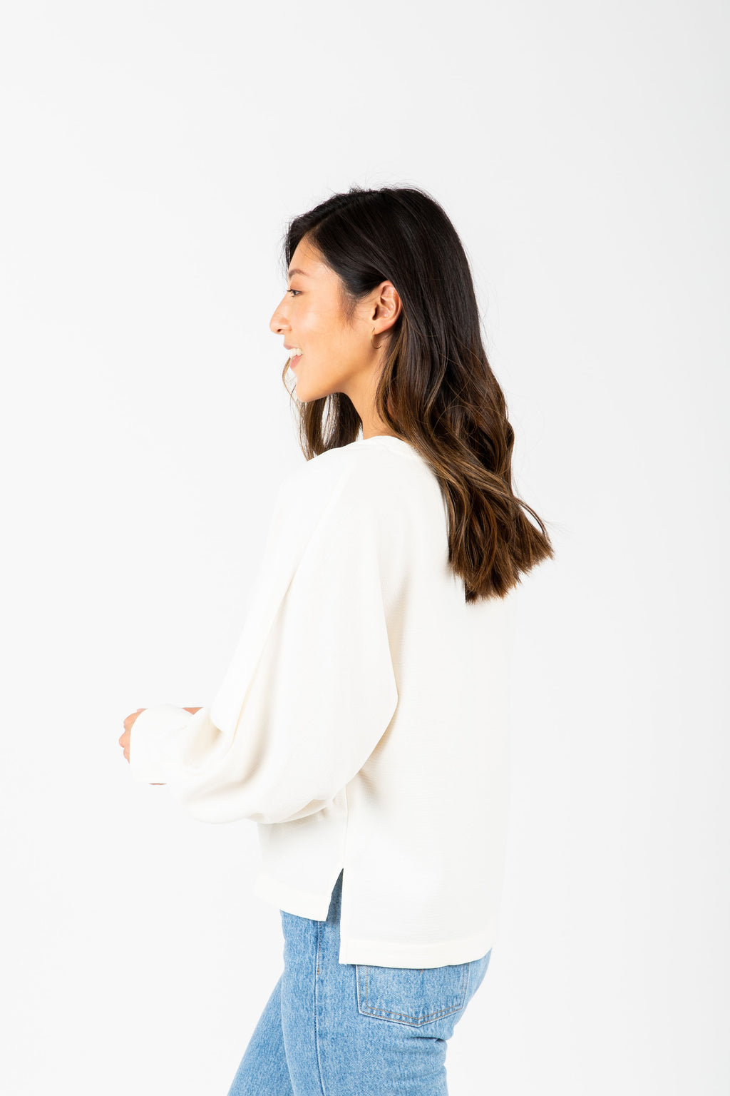 Levi's: Balloon Sleeve Blouse in Cream, studio shoot; side view