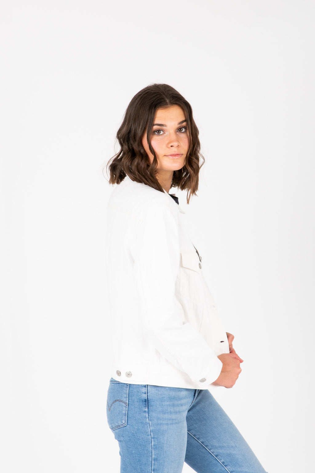 Levi's: Ex-Boyfriend Trucker Jacket in White, studio shoot; side view