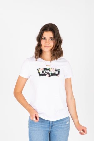 Levi's: Box Tab Logo Tee Shirt in White, studio shoot; front view