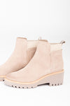 olce Vita: Huey Booties in Almond, studio shoot; side view