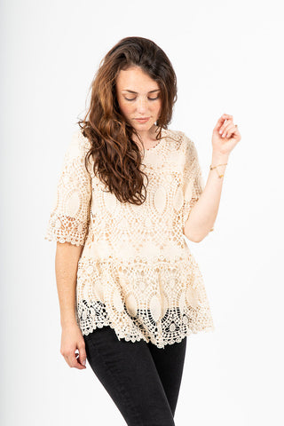 3867305acc36f4 The Smithfield Lace Peplum in Ivory.   42.00. The Swan Patterned Peplum  Blouse in White