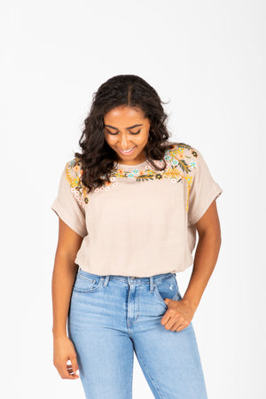 The Lawson Embroidered Blouse in Taupe, studio shoot; front view