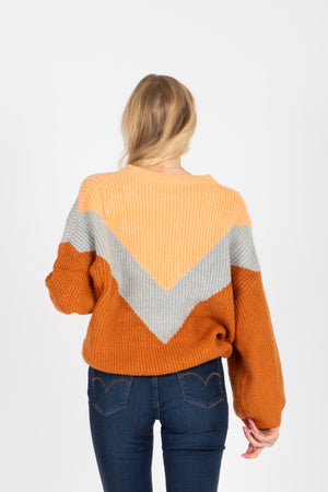 The Arianna V Sweater in Camel Multi, studio shoot; back view