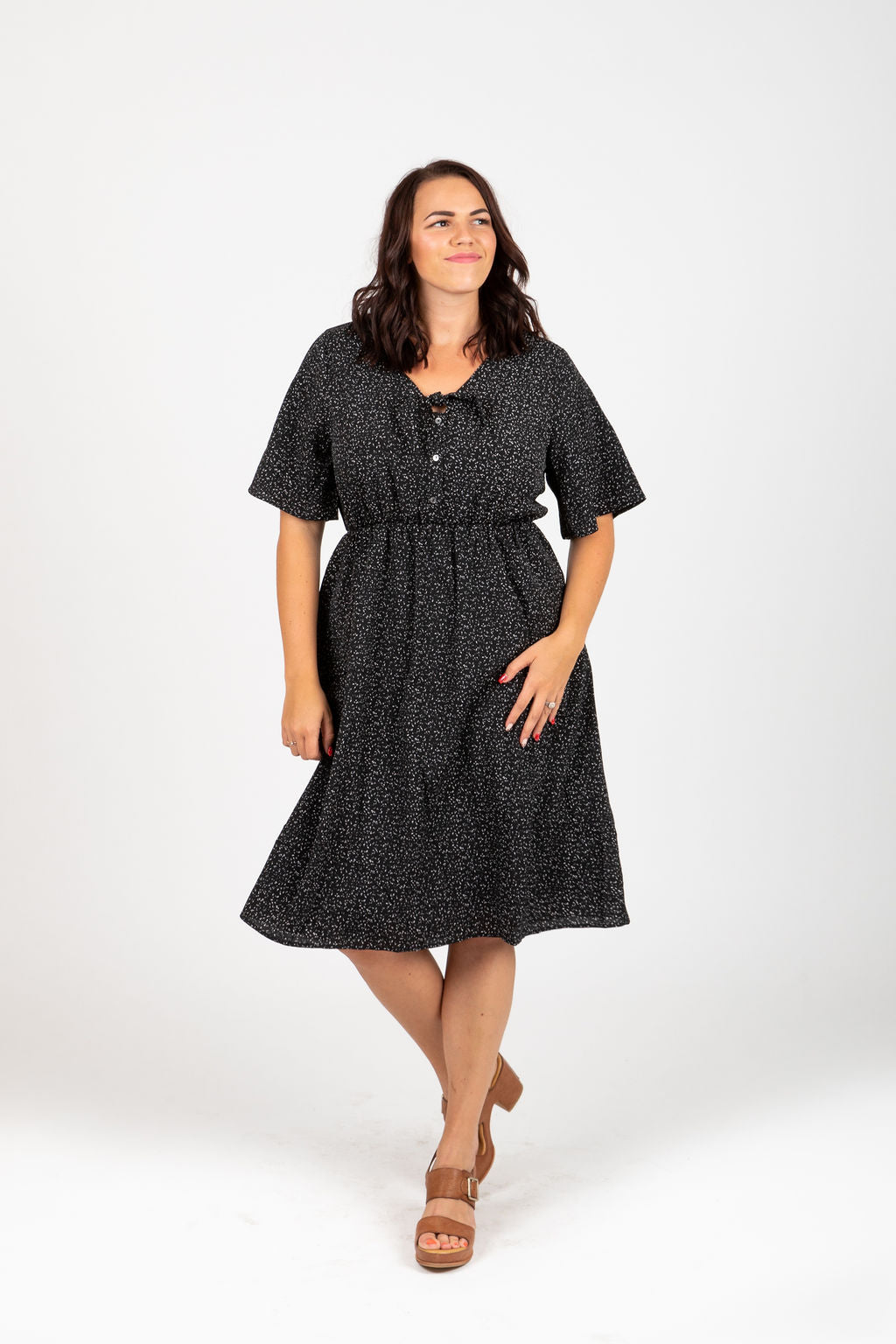 Piper & Scoot: The Bristol Dot Tie Front Dress in Black
