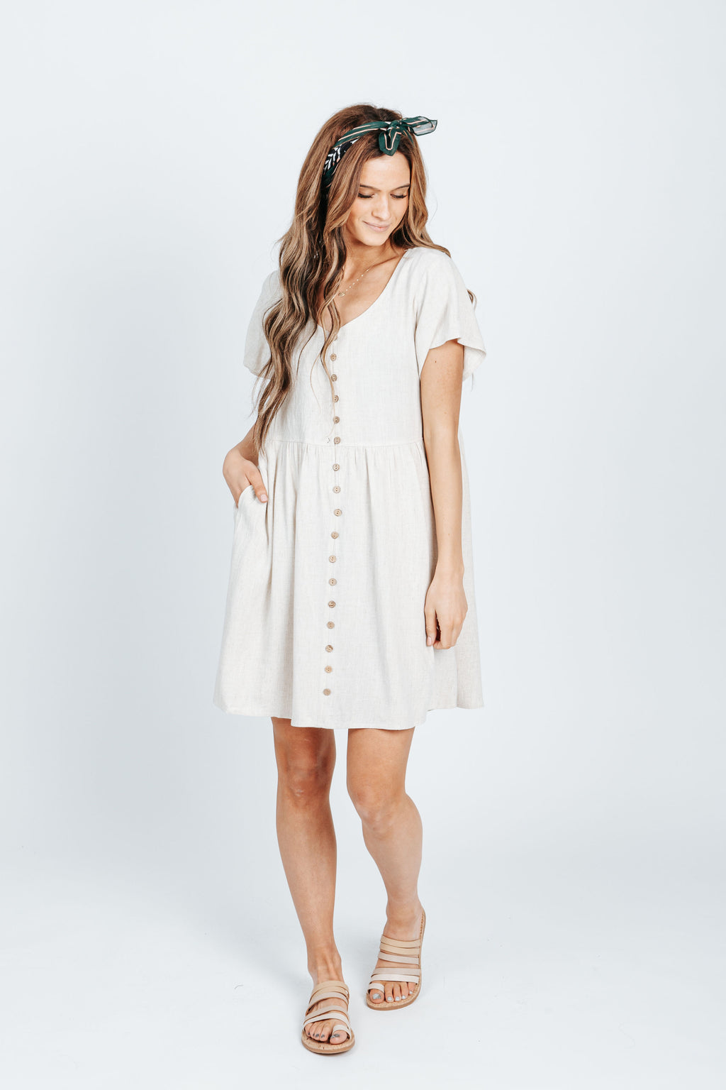 The Jenny Linen Button Front Dress in Natural, studio shoot; front view