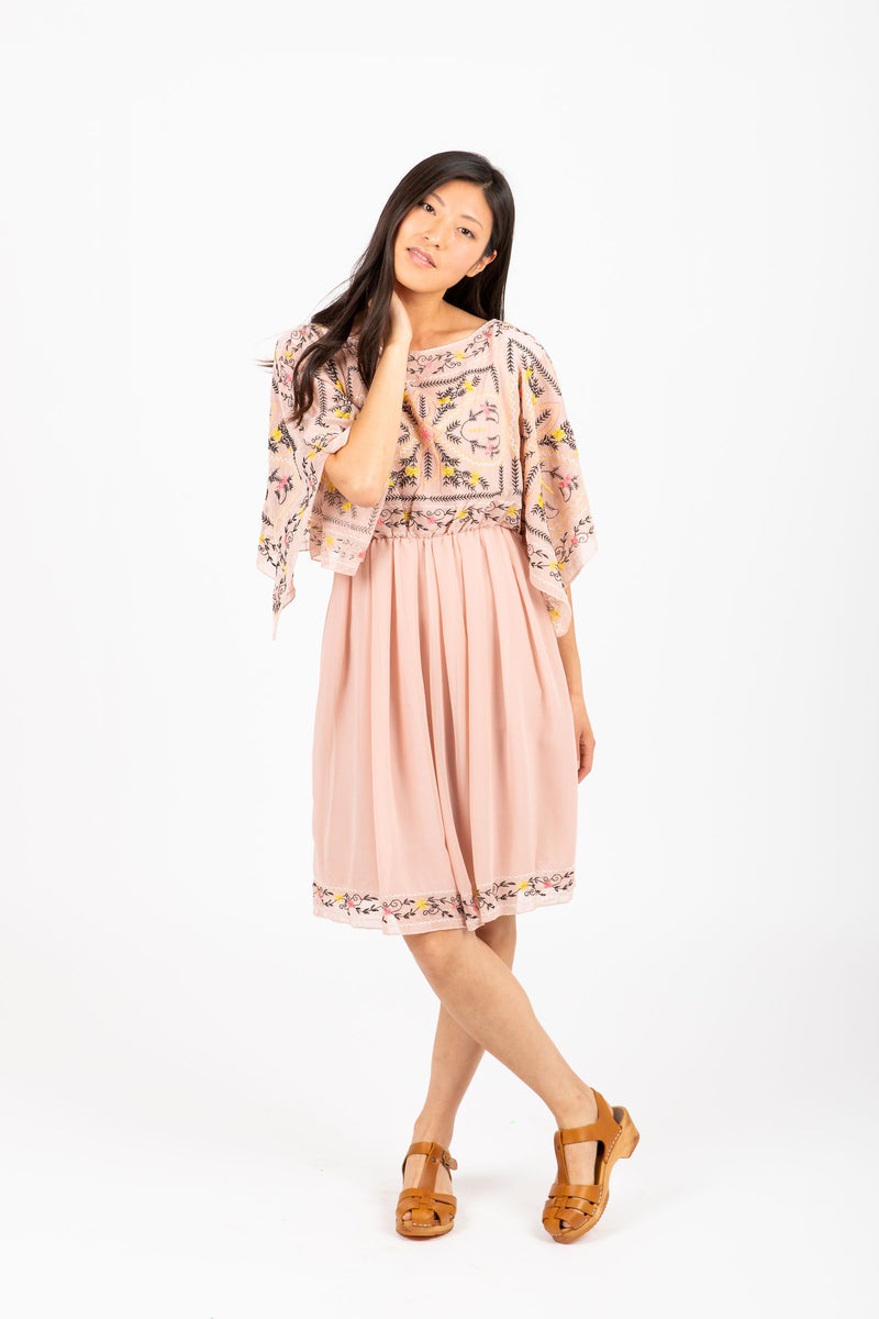The Double Embroidered Floral Dress in Blush