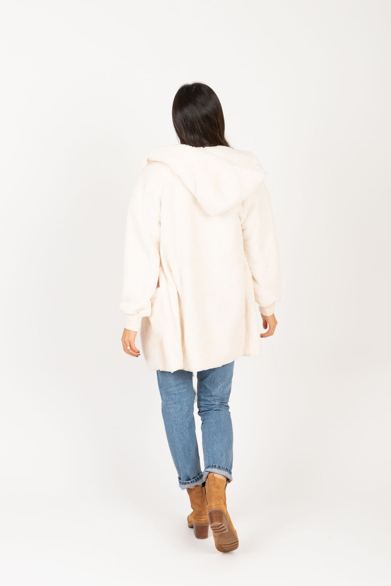 The Reach Cozy Hooded Cardigan in Ivory, studio shoot; back view