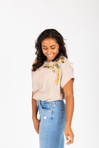 The Mason Floral Lace Sleeve Blouse in White