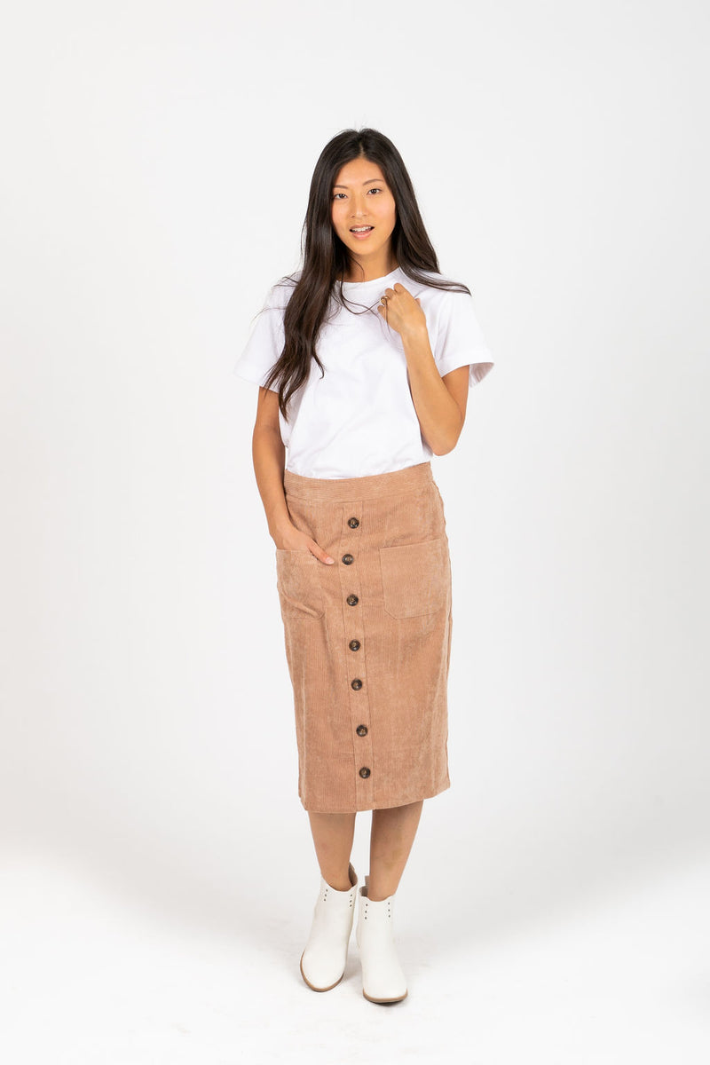 The Cassini Corduroy Button Skirt in Oatmeal