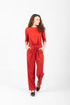 The Miltona Drawstring Jumpsuit in Brick