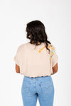 The Lawson Embroidered Blouse in Taupe, studio shoot; back view
