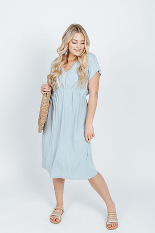 The Nadia Ruffle Detail Dress in Sage