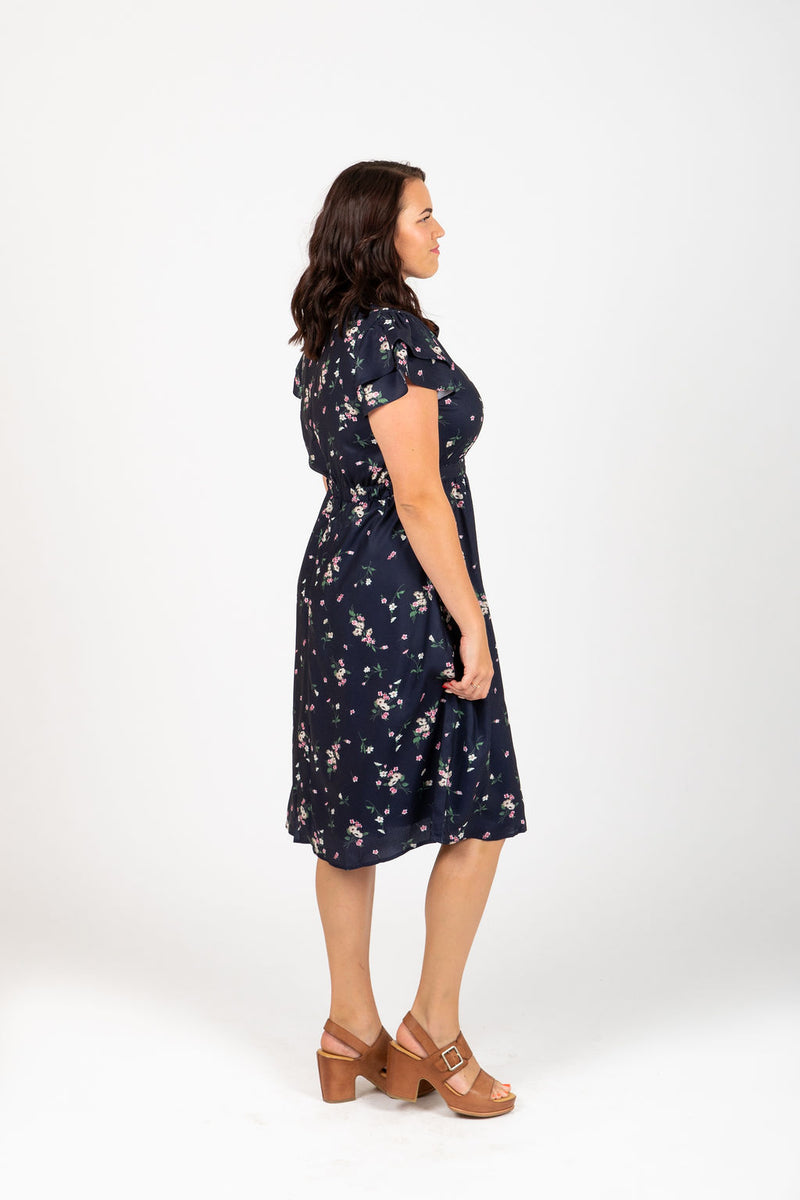 Piper & Scoot: The Aura Floral Flutter Dress in Navy