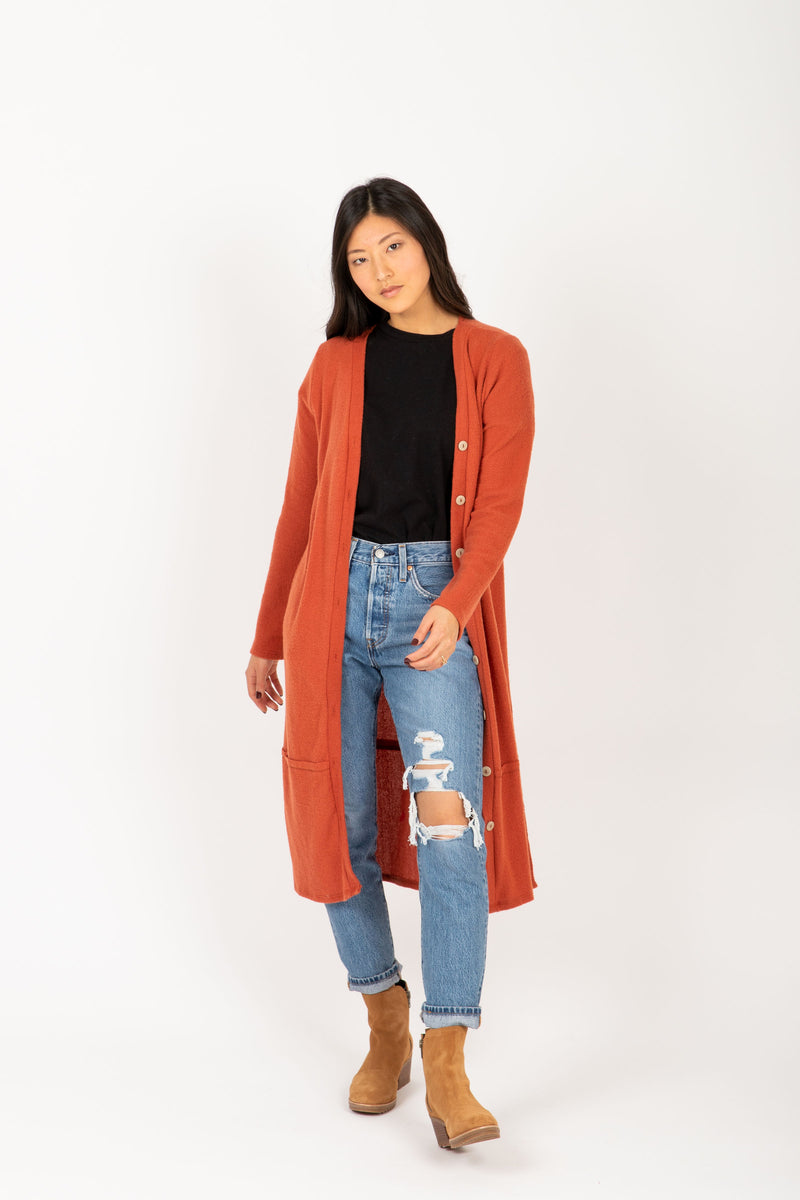 The Ripple Long Button Cardigan in Rust