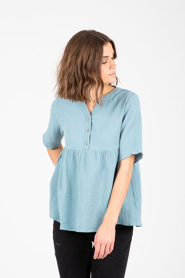 The Edgerton Peplum Blouse in Spring Blue