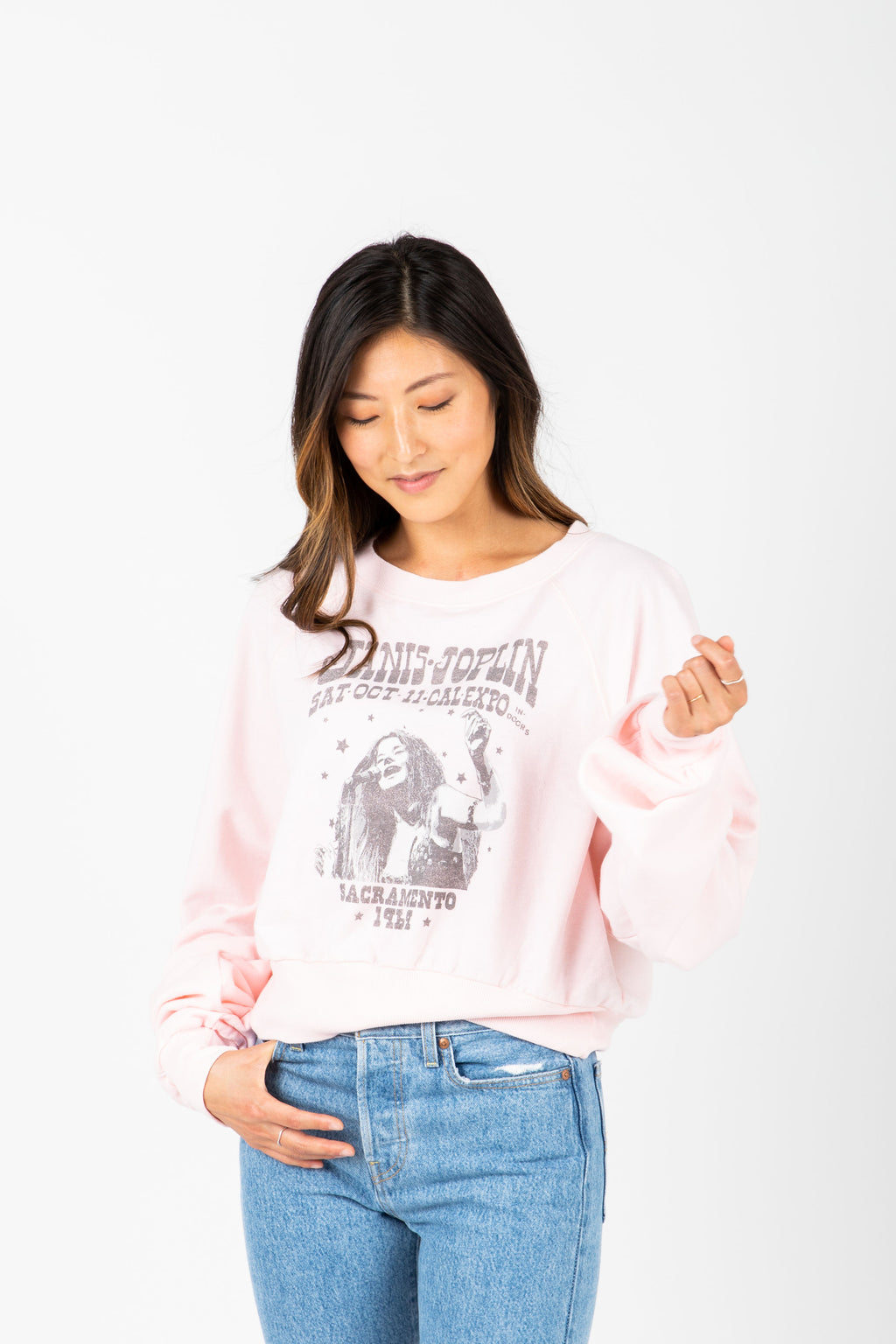 The Janis Joplin Graphic Sweatshirt in Blush, studio shoot; front view