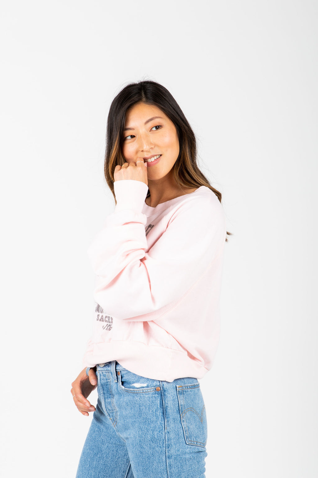 The Janis Joplin Graphic Sweatshirt in Blush, studio shoot; side view