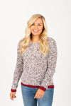 The Peak Speckled Trim Sweater in Grey, studio shoot; front view