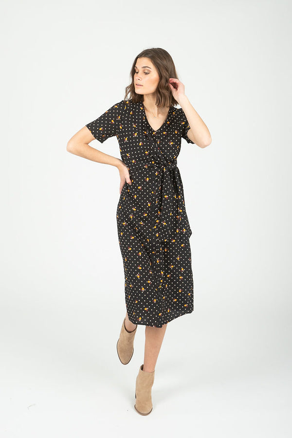 The Andrea Dot Side Tie Dress in Black