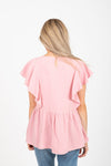 The Moby Ruffle Peplum Blouse in Mauve