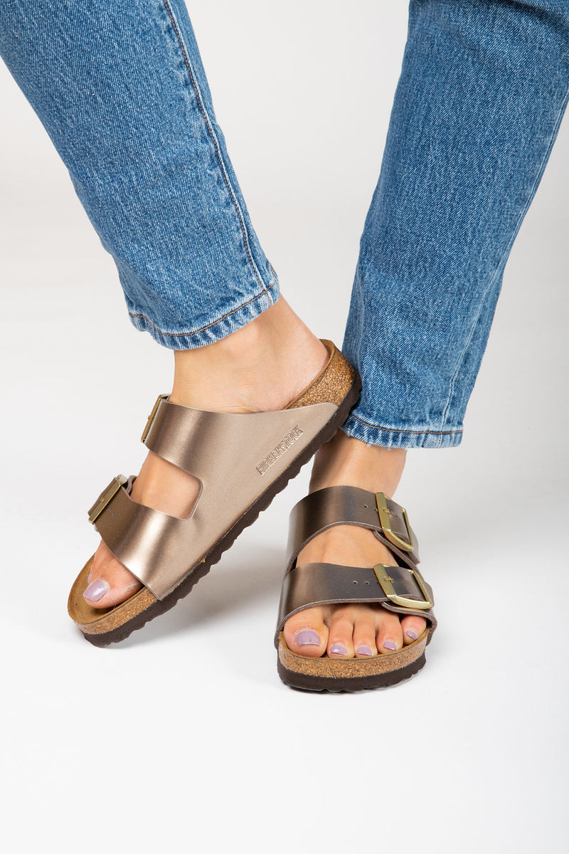 Birkenstock: Arizona Birko-Flor in Electric Metallic Taupe (Narrow Fit)