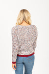 The Peak Speckled Trim Sweater in Grey, studio shoot; back view