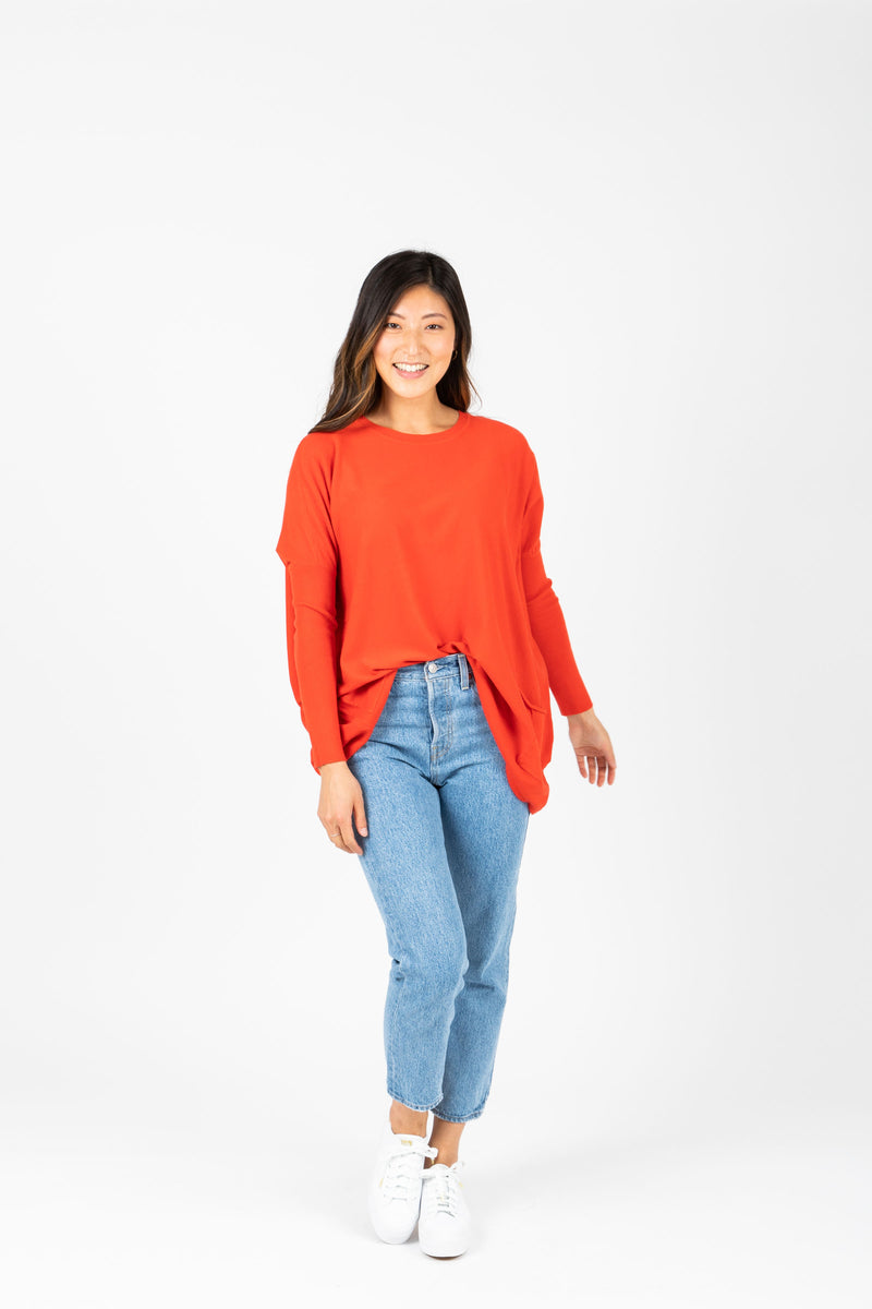 The Divina Casual Pocket Sweater in Poppy