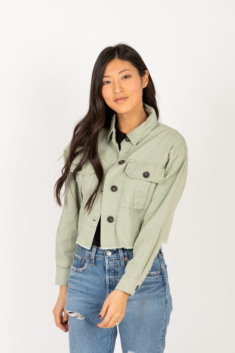 The Gia Utility Shirt Jacket in Olive, studio shoot; front view