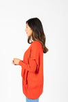The Divina Casual Pocket Sweater in Brick