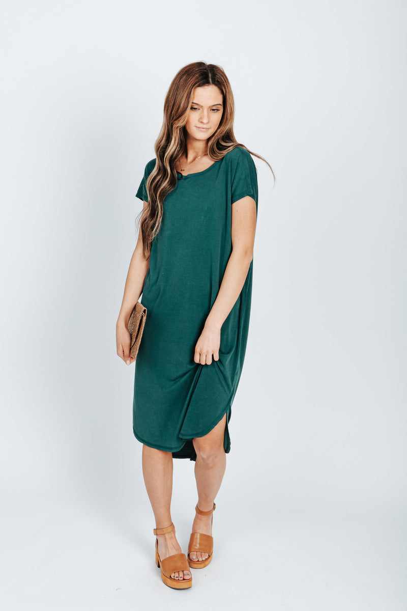 The Bahama Round Neck Casual Dress in Emerald Green, studio shoot; front view