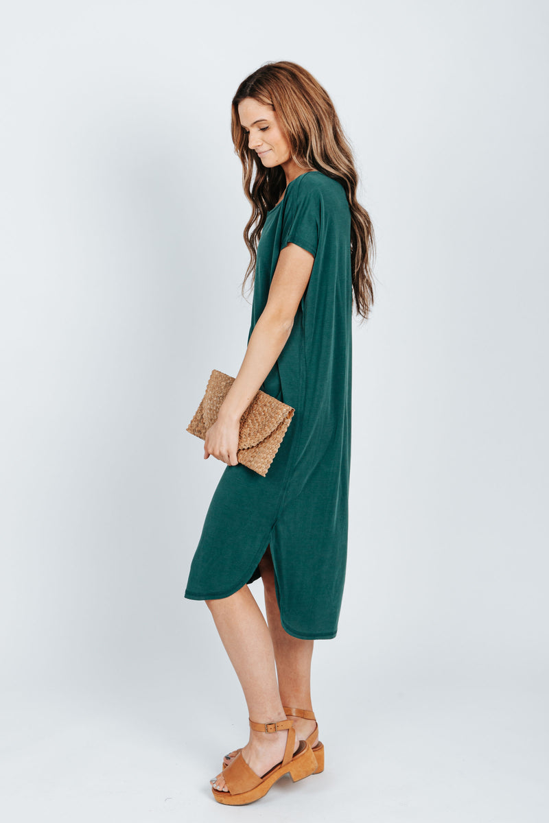 The Bahama Round Neck Casual Dress in Emerald Green, studio shoot; side view