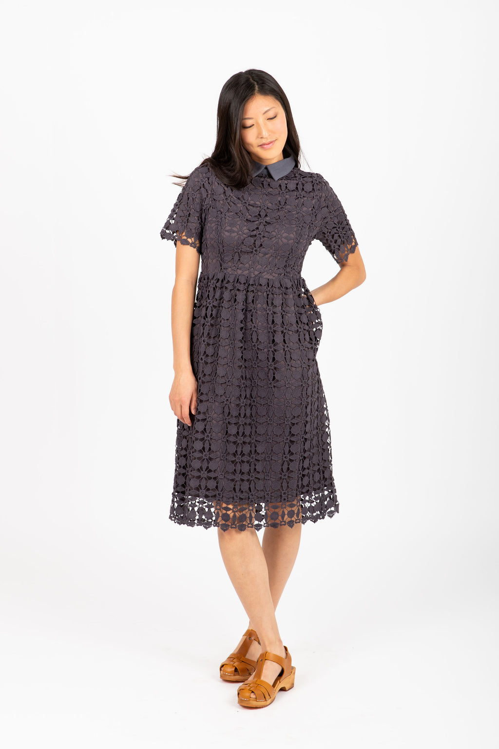 The Happening Collared Lace Dress in Slate