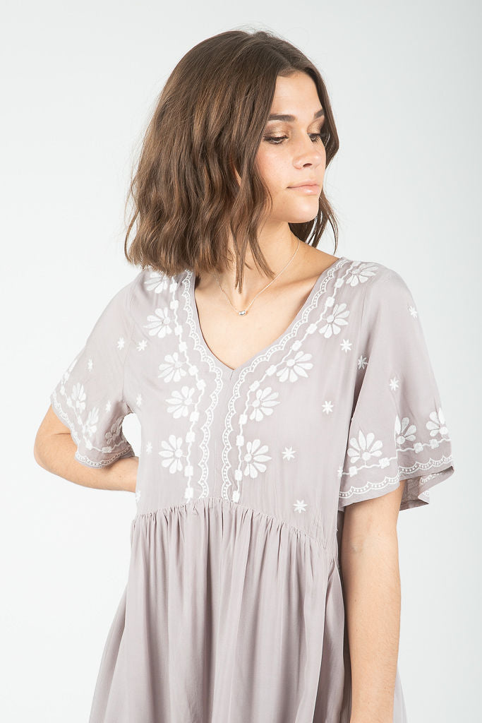 The Kirby Embroidered Dress in Light Grey