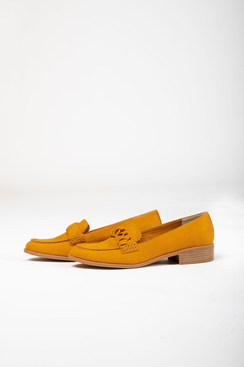 BC by Seychelles: Self-Love Loafer in Mustard Velvet Suede