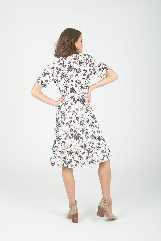 The Gangler Floral Empire Dress in White