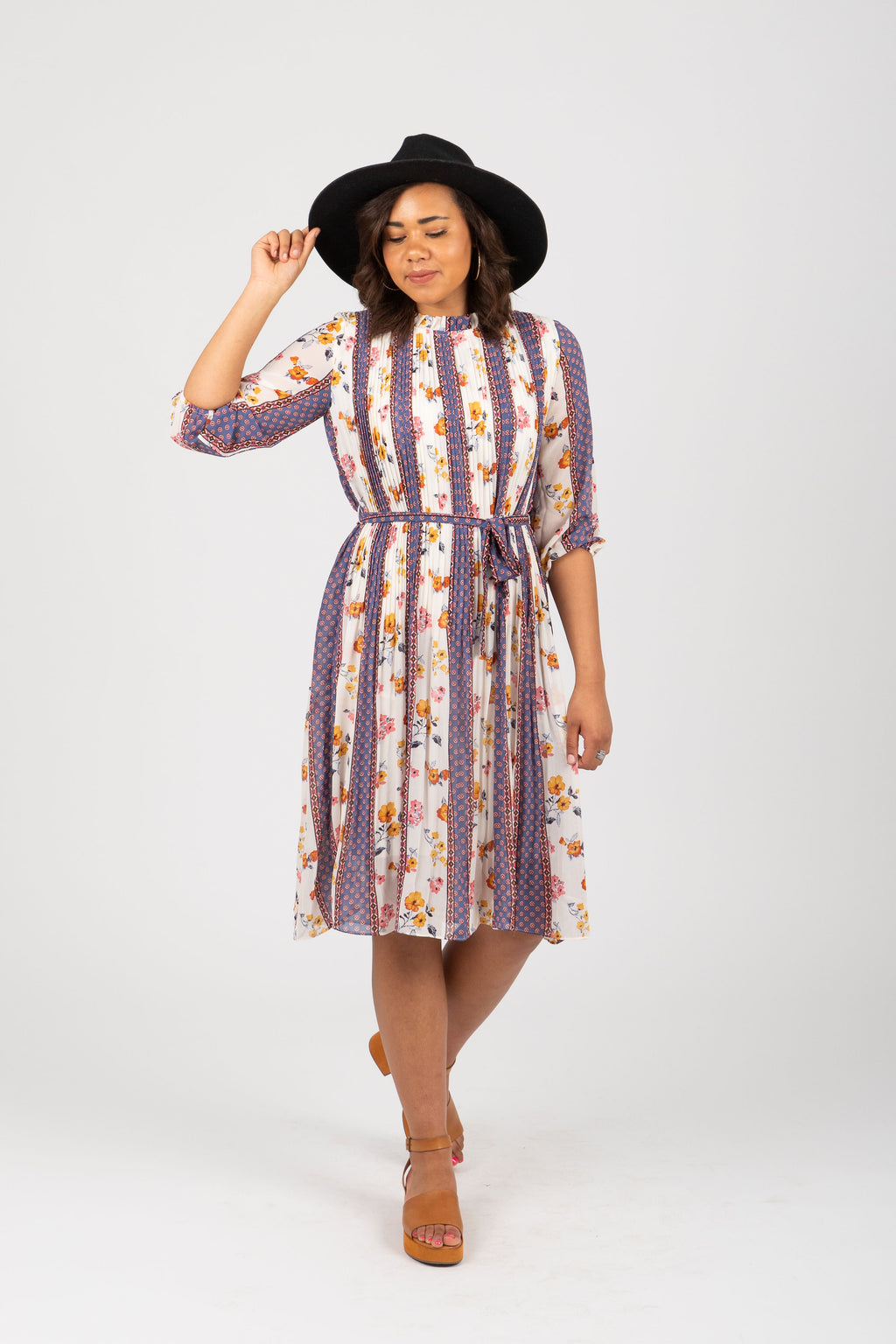The Sketch Floral Striped Dress in Multi