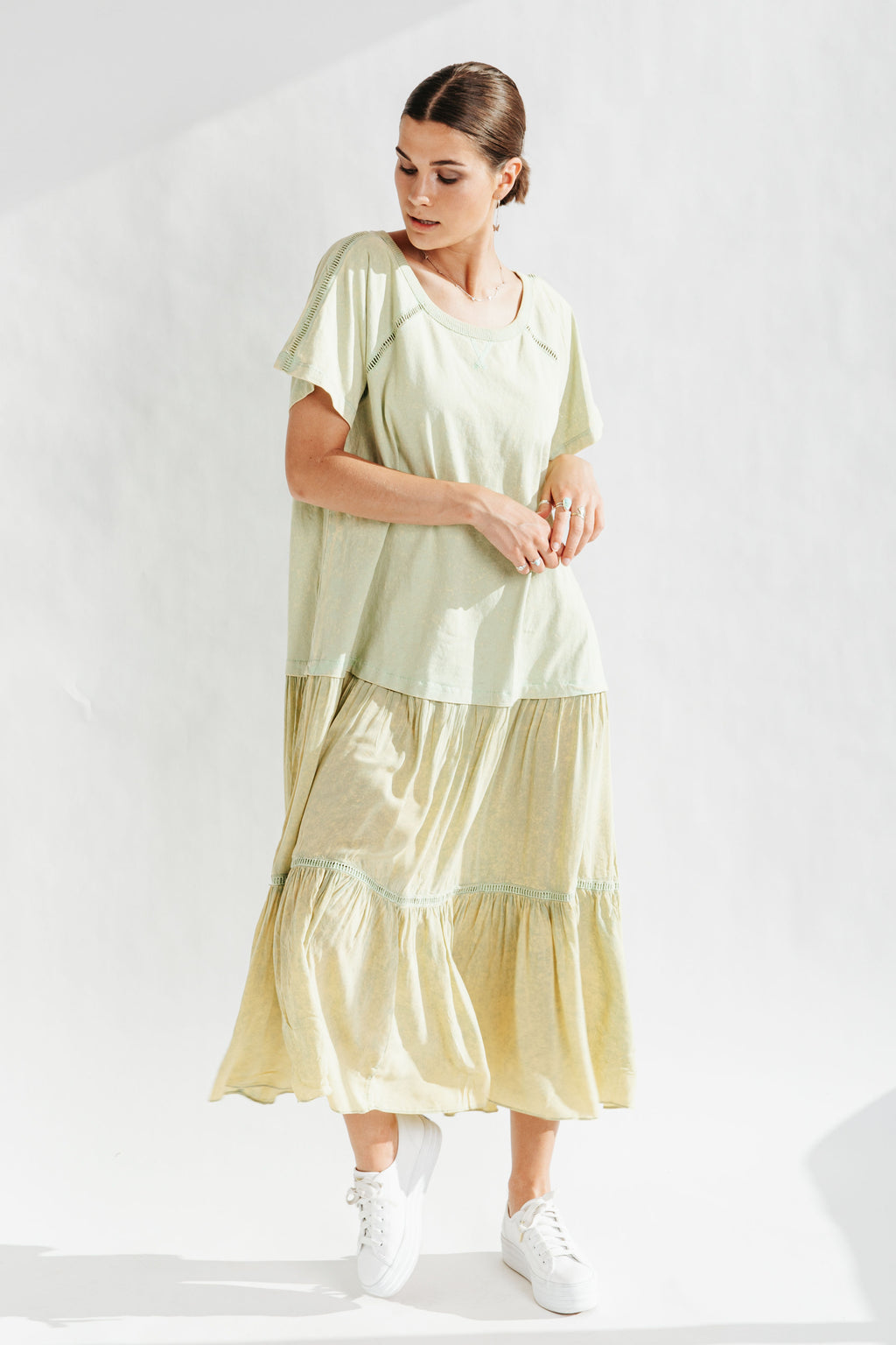 Free People: Sun Fade Midi Dress in Luna Green