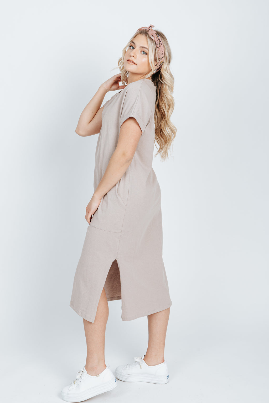 The Audrey Casual Pocket Dress in Pigeon, studio shoot; side view