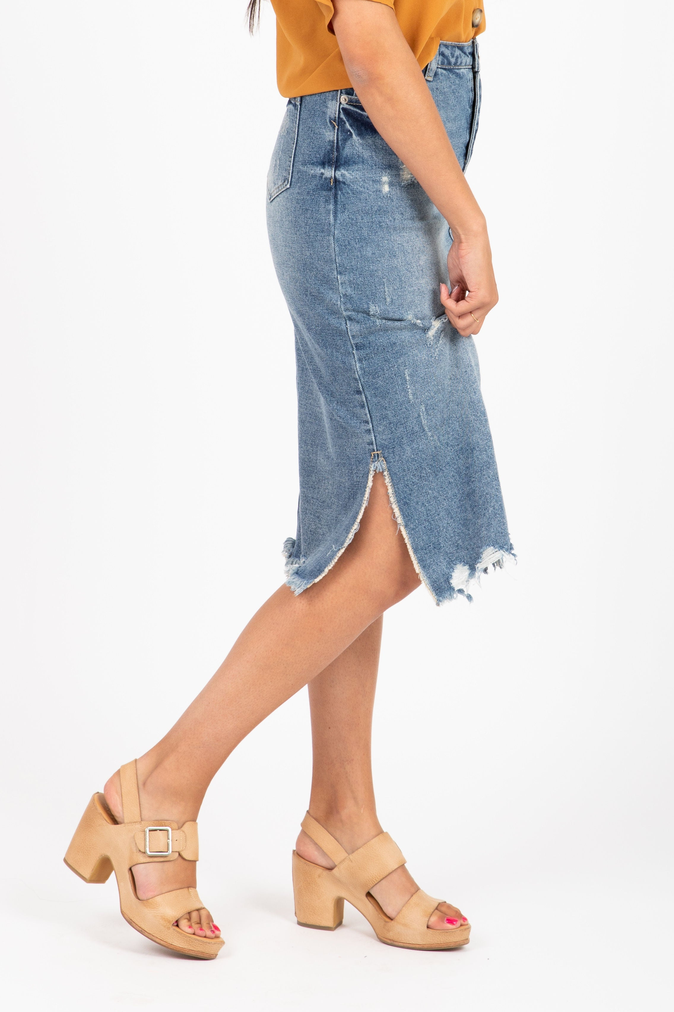 The Surf Denim Midi Skirt in Medium