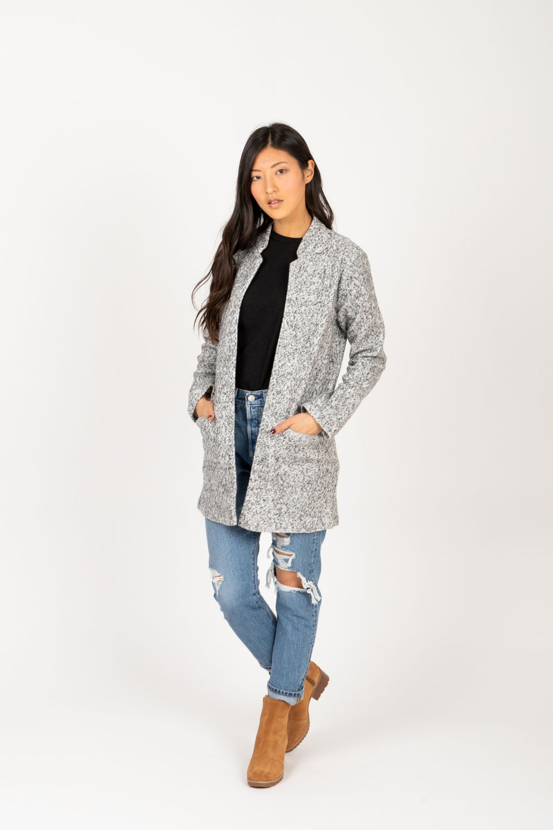 The Brilliant Pocket Sweater Coat in Grey, studio shoot; front view