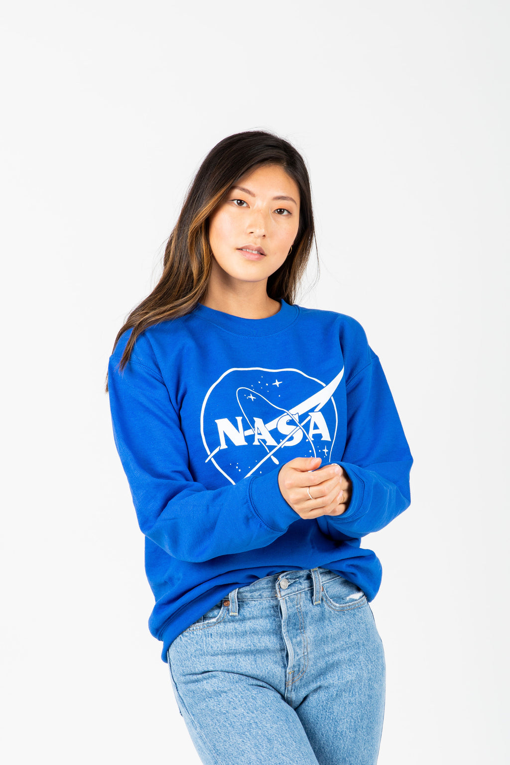 The Nasa Galaxy Crewneck in Royal Blue, studio shoot; front view