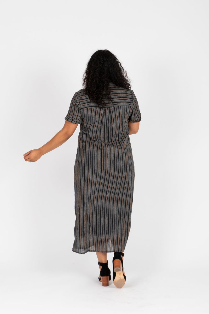 Piper & Scoot: The Wimm Striped Button Dress in Black, studio shoot; back view