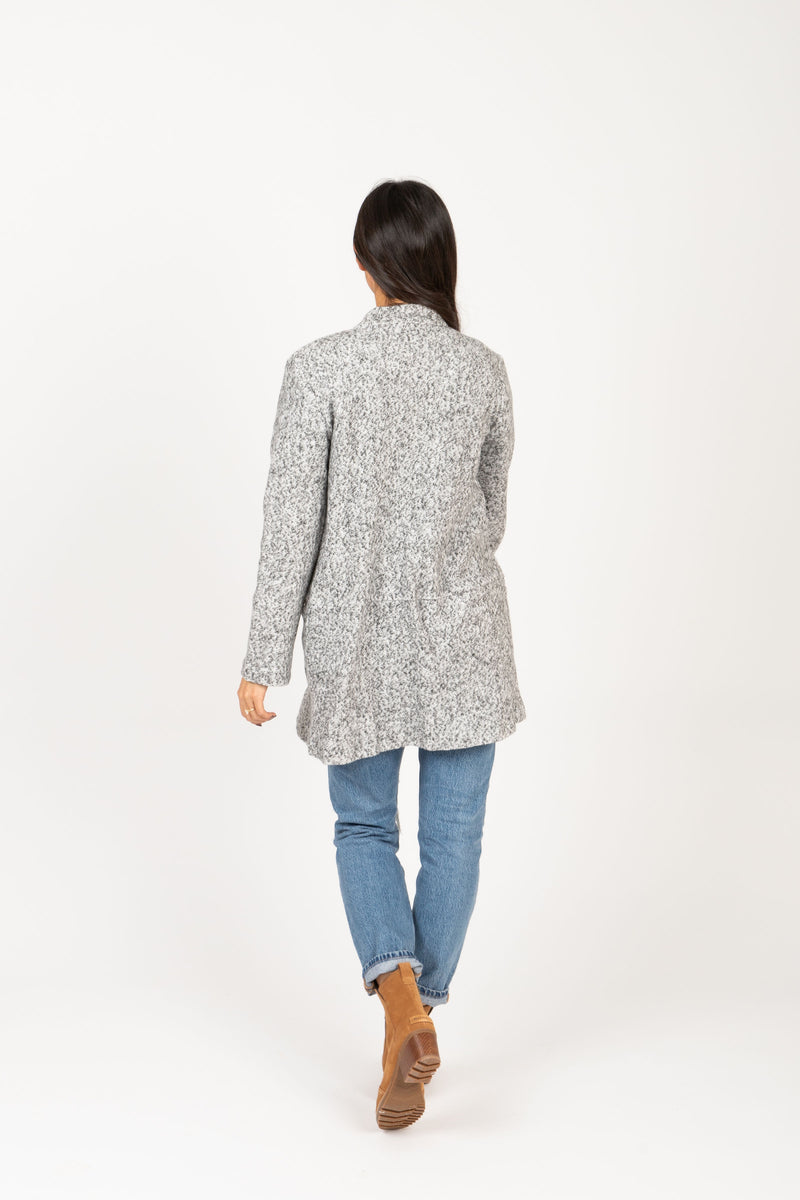 The Brilliant Pocket Sweater Coat in Grey, studio shoot; back view