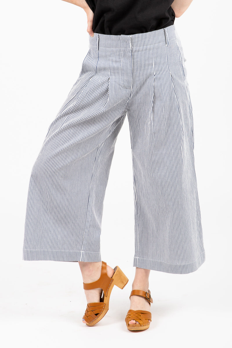 The Obvi Striped Trouser Pant in Blue