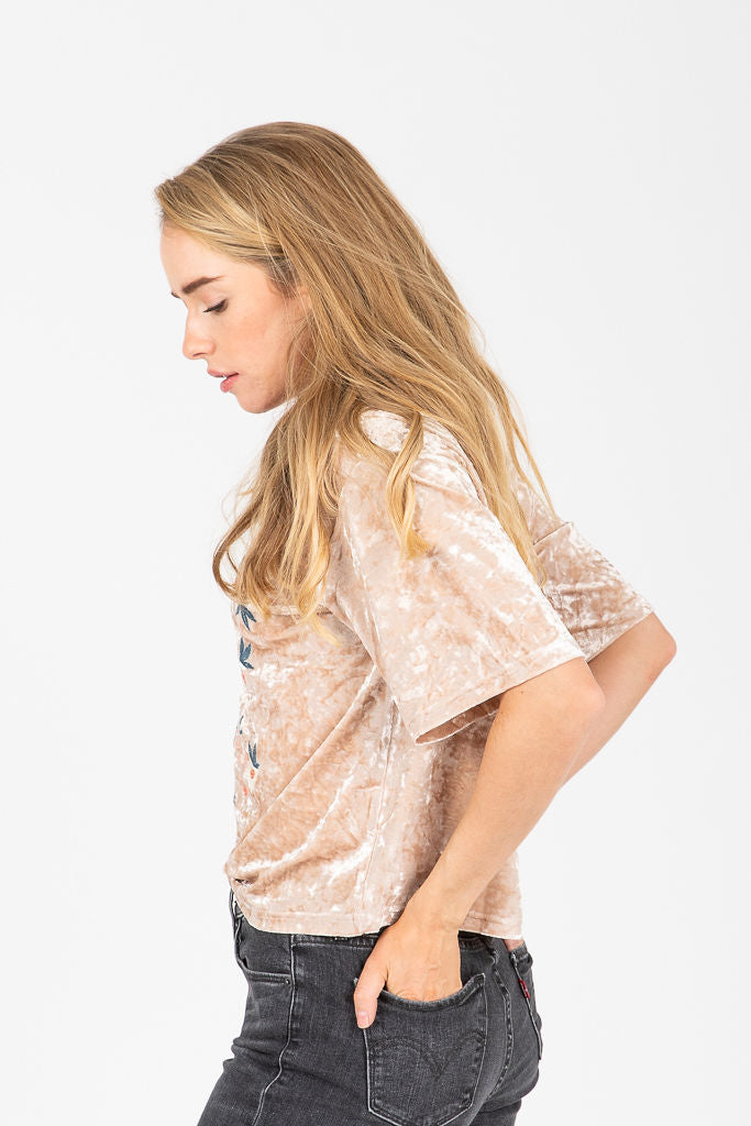 The Darlington Embroidered Blouse in Velvet