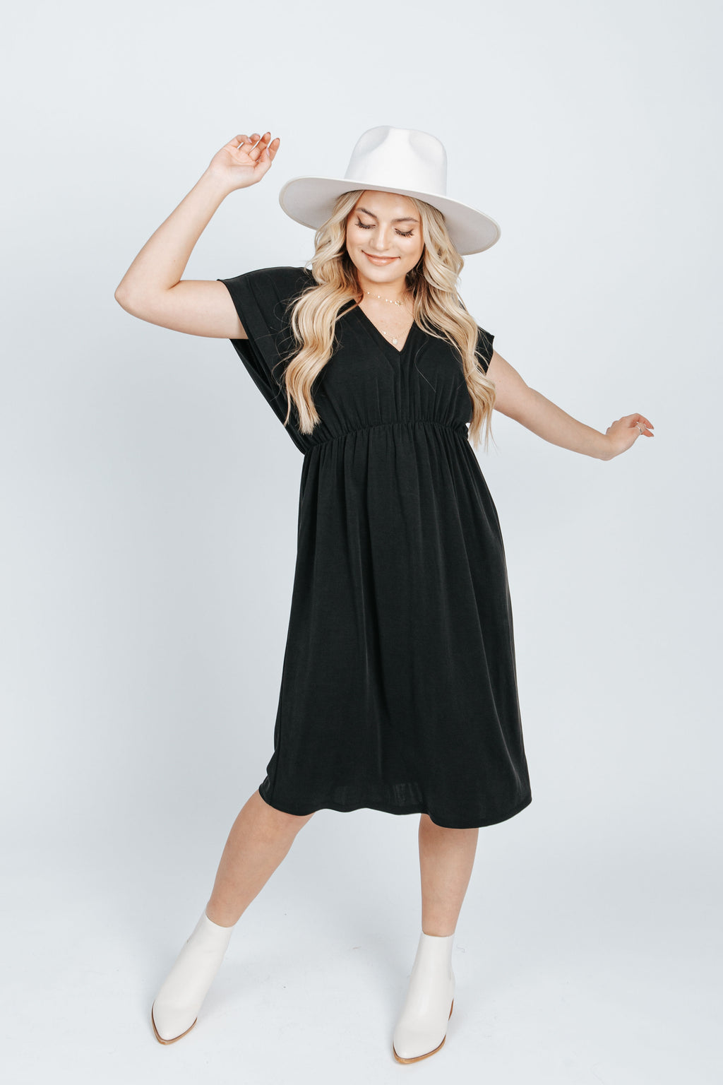 The Aruba V-Neck Casual Dress in Black, studio shoot; front view