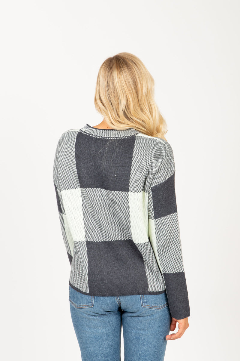 The Trooper Check Sweater in Charcoal, studio shoot; back view