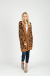 The Sebastian Leopard Cardigan Sweater in Camel, studio shoot; front view
