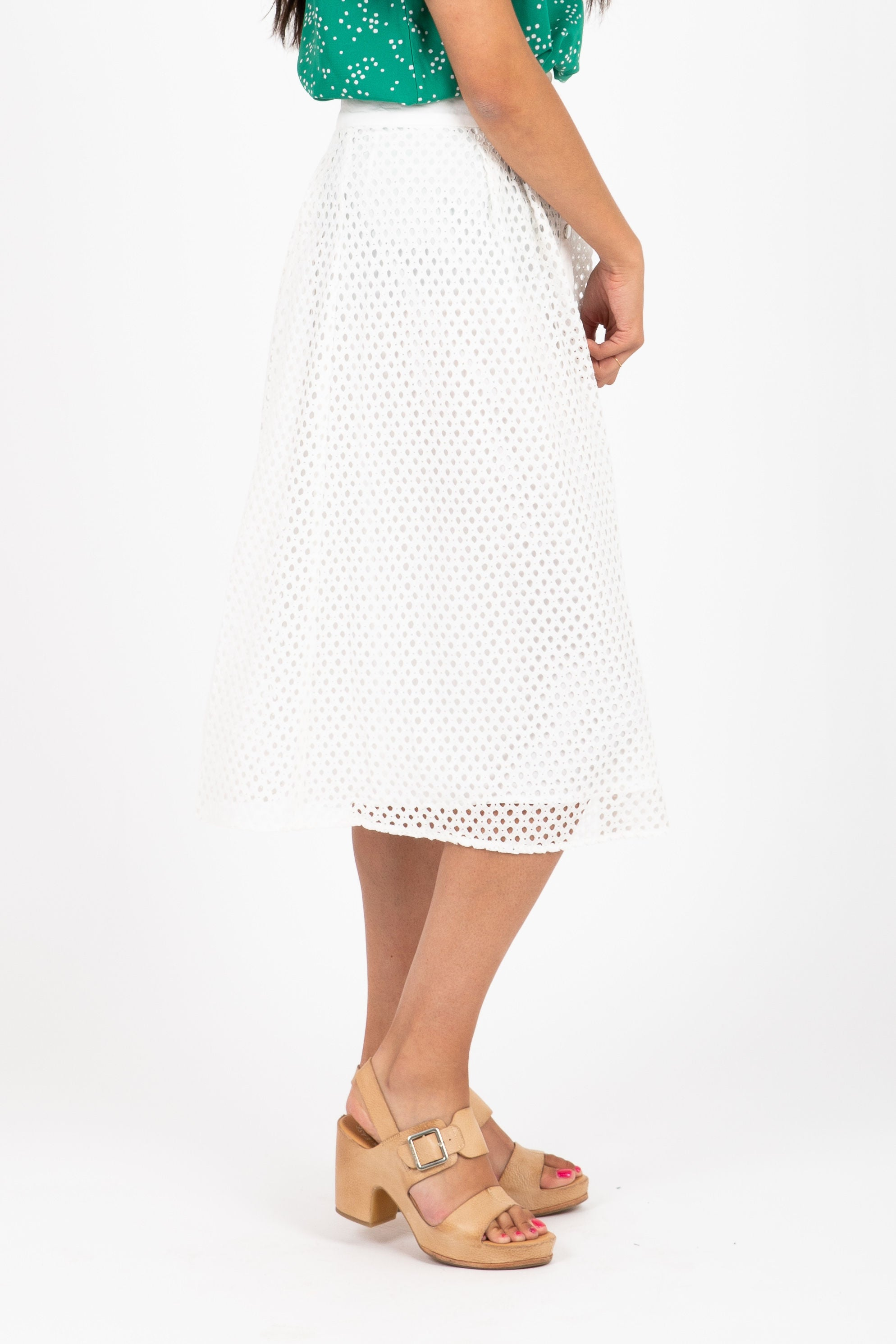 The Goals Perforated Midi Skirt in White